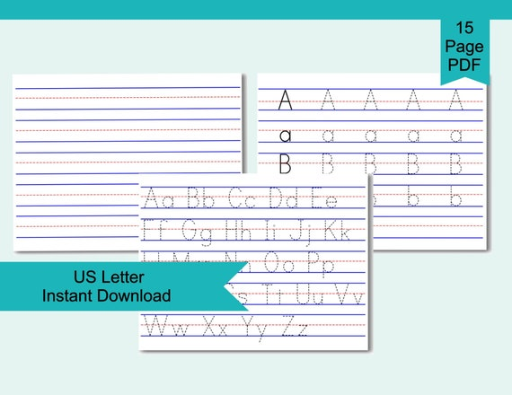 Alphabet Tracing Worksheets Letter Tracing Practice Sheet Etsy