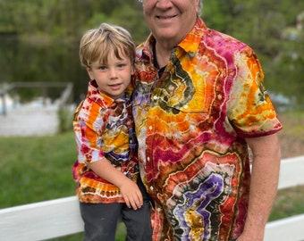 Tie Dye Men's Button Up Shirt   Hippie Clothes   Men's Tie Dye Shirt   Tie Dye Utility Shirt   Tie Dye Shirt S, M, L, XL, 2X, 3X