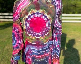 Tie Dye Hooded Long Sleeve Shirt   Tie Dye T-Shirt   Tie Dye Loungewear   Long sleeve hoodie   Hippie Clothes   Hand Dyed Tie Dye Clothing