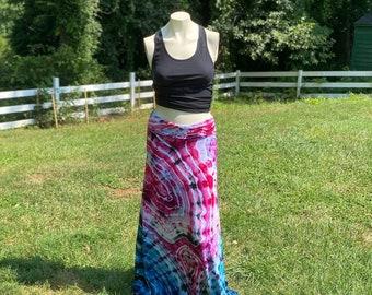 Women's Tie Dye Maxi Skirt   Hippie Skirt   Boho Womens Clothes   Tie Dye Clothes   Hand Dyed Tie Dye   Maxi Skirt   Fire and Ice Skirt