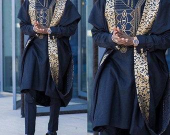 Navy Blue AGBADA, AGBADA for men, African AGBADA, African wedding suit, Groomsmen suit, Groom's suit, African 3 pieces suit, men's clothing