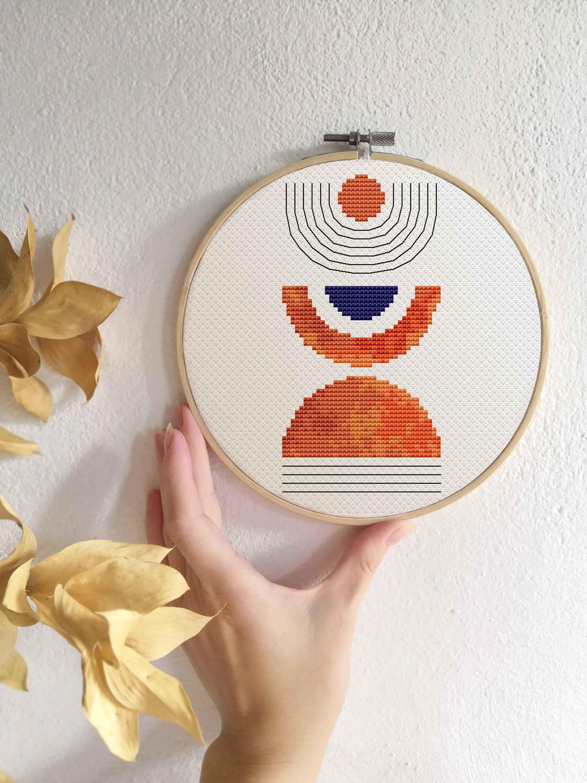 Modern cross stitch pattern PDF Navy orange gray cross stitch Boho Counted cross stitch Mid century modern Abstract geometric xstitch