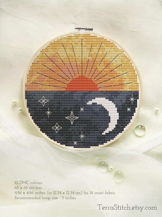 Boho sun cross stitch pattern Modern cross stitch PDF Abstract sun and sea