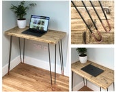 KRONG Reclaimed Wood Desk with Copper Tipped Hairpin Legs