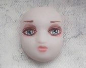 Clay doll face Polymer clay Detailed Hand painted Craft cab Bohemian supply Assamblage Mixed media Women Lady Feminine Head Mask Cabochon