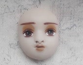 Art deco face cabochon Clay doll face Small cab Head Mask Etsy doll part Mixed media part Assamblage Jewelry making Hand painted Detailed