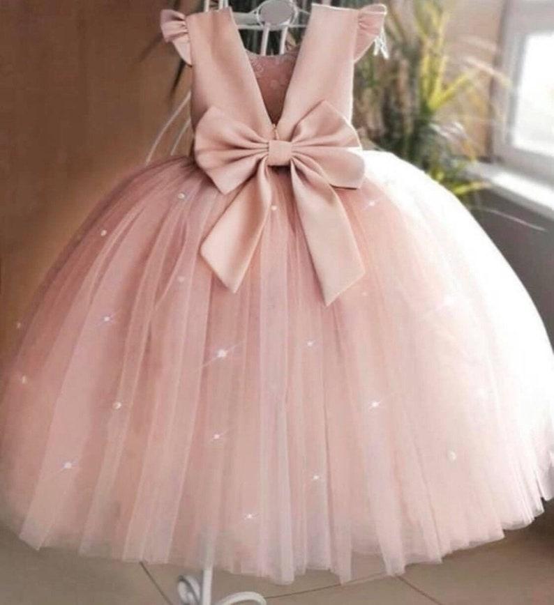 Birthday pink dress Flower Girl Dress Dusty Pink Dress Puffy Dress