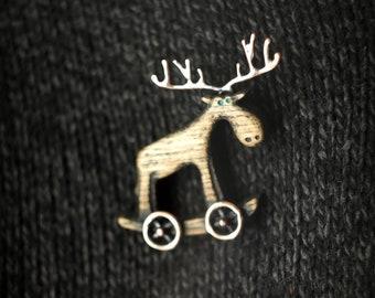 "Handmade Wooden Brooch ""The Moose"""