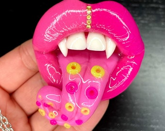 Colourful tentacle lips pendant