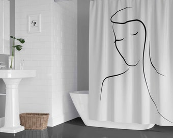 Animal Colored Lines Outline Lion Bathroom Fabric Shower Curtain Set With Hook