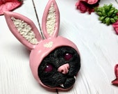 Cute sad cat in a pink bunny hat brooch polymer clay jewelry