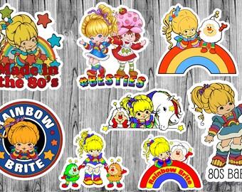 Retro Rainbow Brite 80s Fan Art Stickers / Planner, Scrapbook, Journal, Laptop, Phone, Skateboard, Tablet, Matte Stickers
