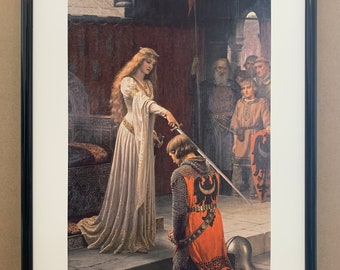 Knight Sword Accolade Medieval by Edmund Leighton Counted Cross Stitch Pattern