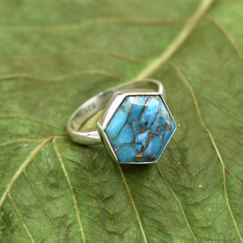 Daughter Gift Ring Blue Copper Turquoise Ring Hot Selling Ring 925 Sterling Silver Ring Anniversary Gift Ring Natural Turquoise Ring