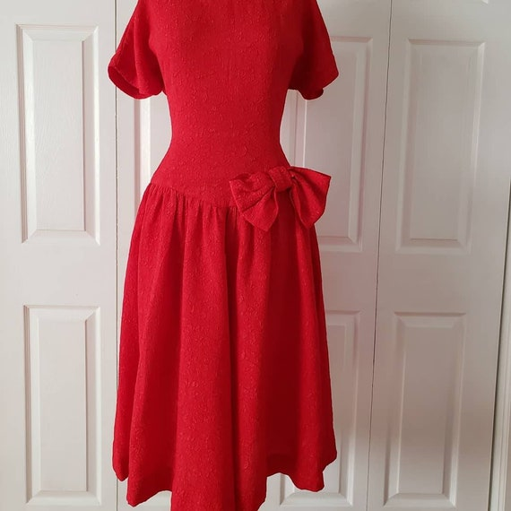 1950s Ruby Red Dress