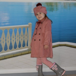 Girls Pink Coat Optional Beret Style Hat Made in the UK  Spanish Style.