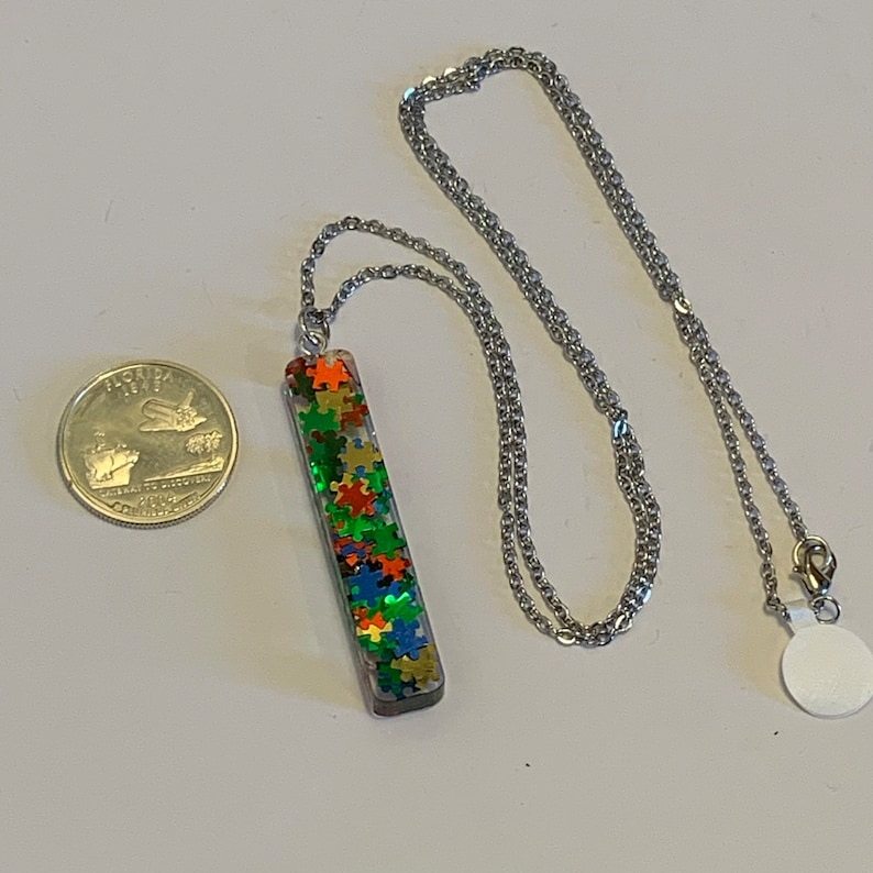 Resin Bar Necklace Autism