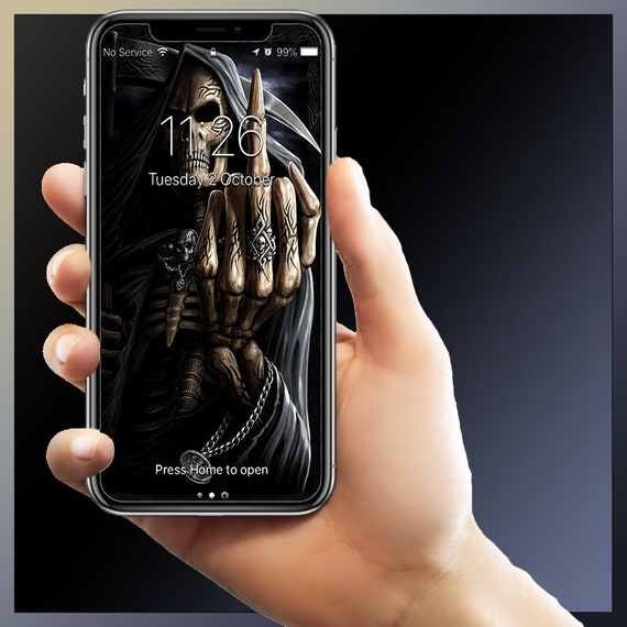 Iphone Wallpapers Middle Finger Grim Reaper Android Wallpaper Background Theme Iphone 6 6s 7 7s 8 8s X Xs Max Xr Samsung Galaxy Note 9