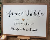 Sweet Table Wedding Party Sign A4 with wooden heart white ivory craft brown Rustic Vintage Barn Garden Boho theme decorative script print
