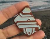Spanish sea pottery. Surf tumbled sea ceramics, beach pottery. Vintage pottery.