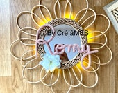 Bright rattan mirror to customize with a word or first name gift deco room girl