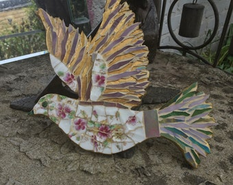 Mosaic Dove in Antique Regent china
