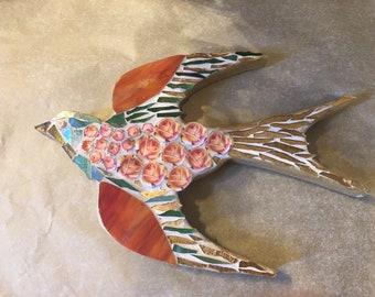 Mosaic Swallow made with Royal Albert Country Roses