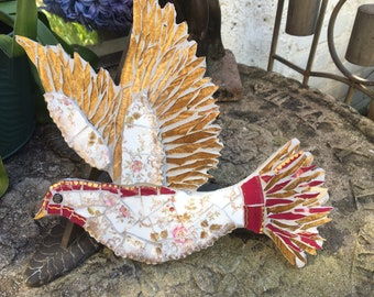 Mosaic Dove in Floral Edwardian china