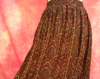 1980/'s Vintage Magenta Purple Black Grey Big Stripe Pleated Full Woven Wool Skirt Sophisticated T-length Skirt 28 Waist JH Collectibles