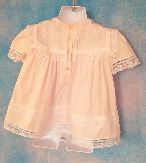 Vintage 80s Toddler Pale Peachy Pink Lacy Sailor … - image 9