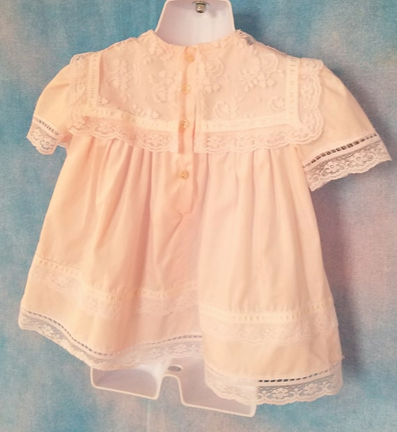 Vintage 80s Toddler Pale Peachy Pink Lacy Sailor … - image 10