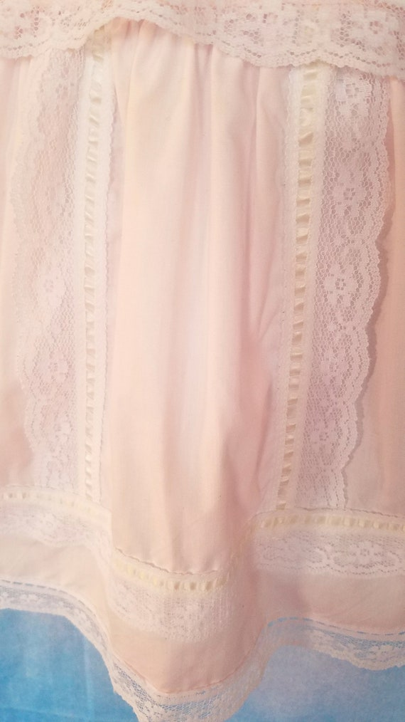 Vintage 80s Toddler Pale Peachy Pink Lacy Sailor … - image 6