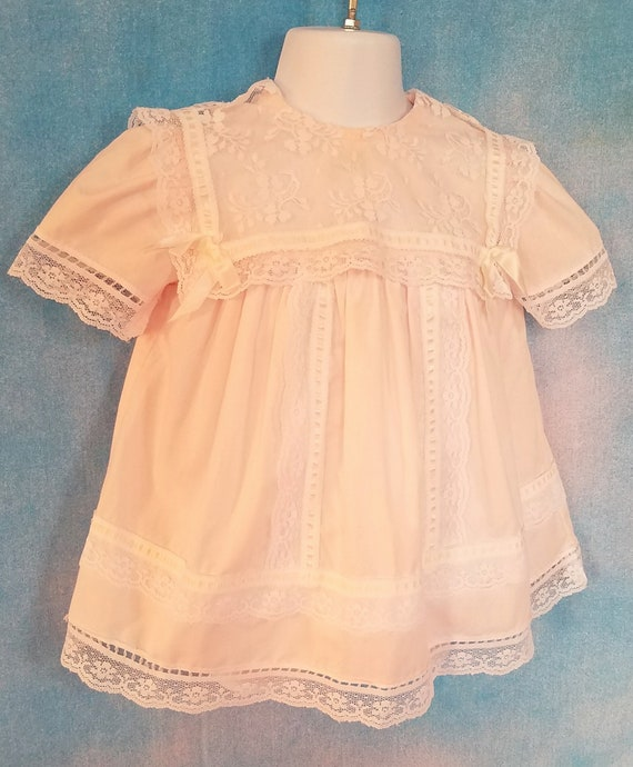 Vintage 80s Toddler Pale Peachy Pink Lacy Sailor … - image 7