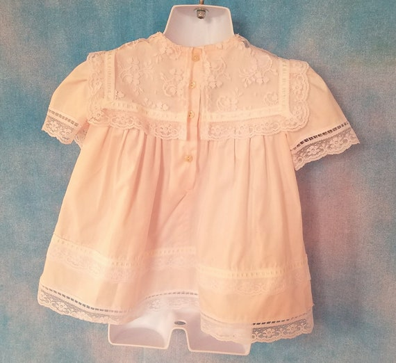 Vintage 80s Toddler Pale Peachy Pink Lacy Sailor … - image 8