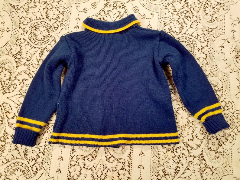 Vintage 60s Nautical Navy and Gold Double Breasted Toddler Cardigan with Belt Well Woolies Made in England Size 3T