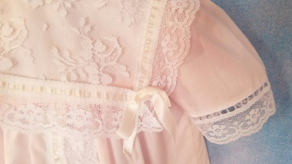 Vintage 80s Toddler Pale Peachy Pink Lacy Sailor … - image 5
