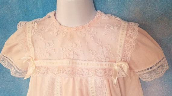 Vintage 80s Toddler Pale Peachy Pink Lacy Sailor … - image 4