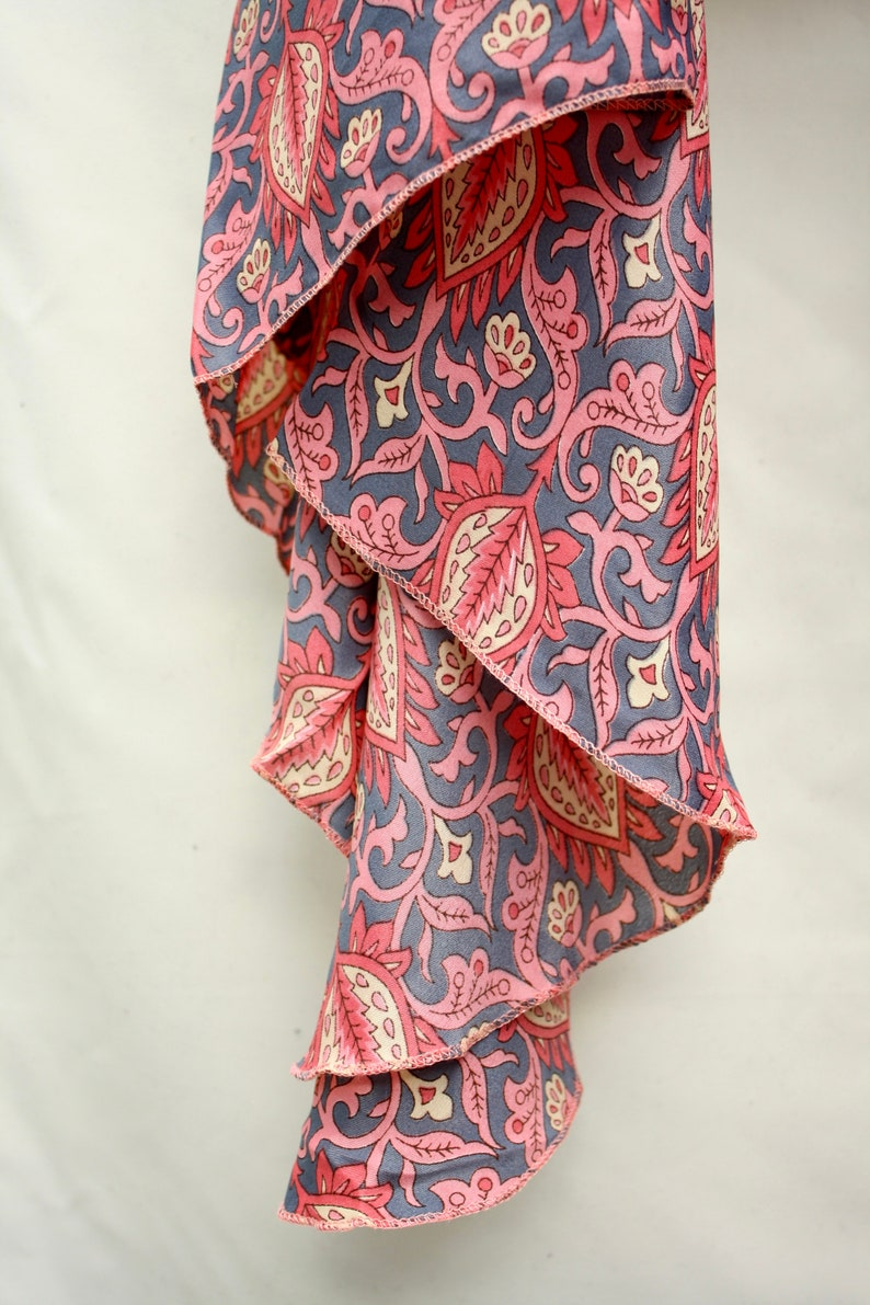 Pink Paisley. Unisex Fabulous Blouse One size Dramatic Bell Sleeve 70s Bohemian Upcycled Silk Sari Tie Blouse
