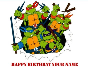 TMNT Ninja Turtles inspired 2 toppers Avery 22807 Ninja Turtles Birthday Decoration Instant download toppers