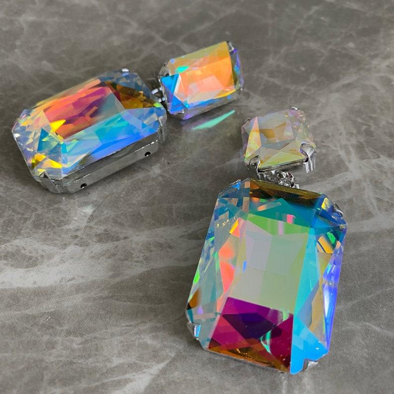 Rainbow Glam Statement Earrings Statement Earrings Clip On or Pierced Diva Jewelry Large Glamorous Earrings