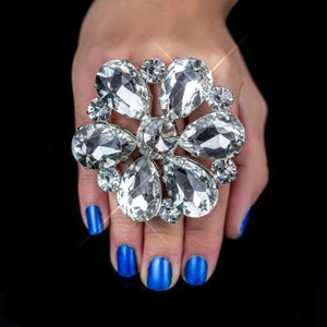 Large Diamond Shape Crystal Ring with Adjustable Size Extra Large Statement Dress Ring Drag Queen Imitation Jewel Faux Diamond Crystal