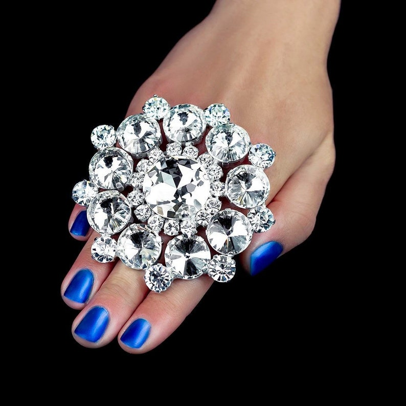 Clear Stones Adjustable Band Ring Imitation Faux Diamond XL Bling Crystal Opulance Statement Ring Large Dress Jewellery
