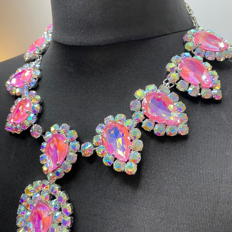 Drag Queen Jewellery Gorgeous Crystal Teardrop Baby Pink Necklace Fully Adjustable Extra Large ++ Austrian Crystal Silver Plate
