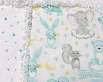 Sleepy Animals 2 Baby Rag Quilt, baby rag quilt, baby shower gift, nursery decor, stroller cover, tummy time, baby blanket, handmade gift