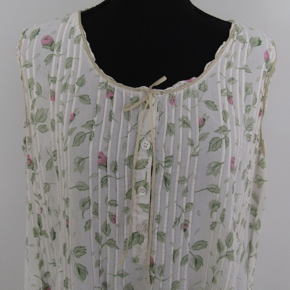 80s Cotton Button Down Nightgown in White with Gre