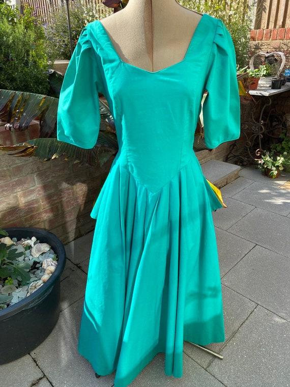 1980s Laura Ashley Bustle Dress