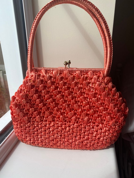 Vintage 1960s Orange Raffia Handbag