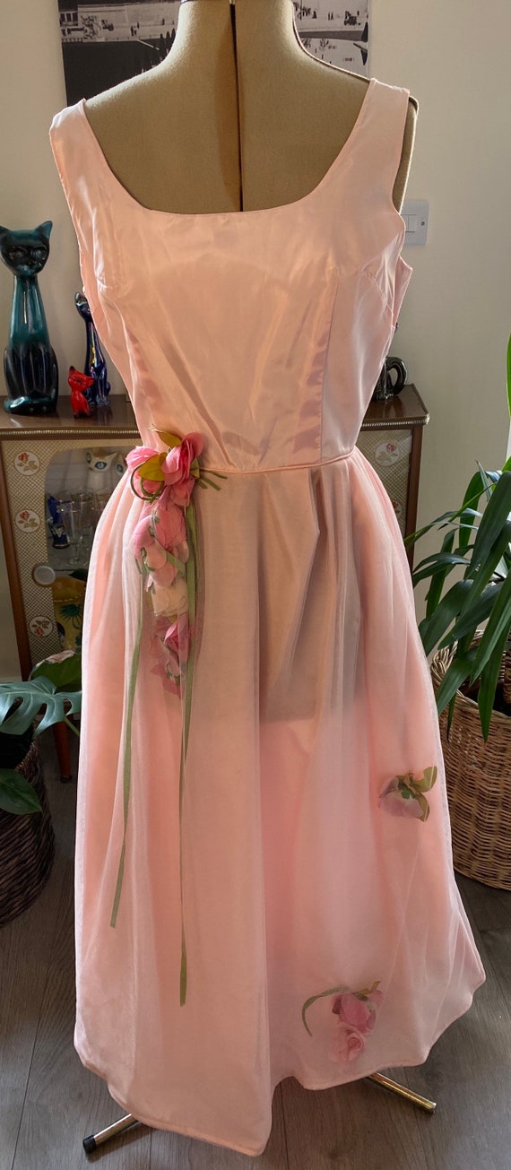 Vintage 1950s Pink Roses Ball Gown