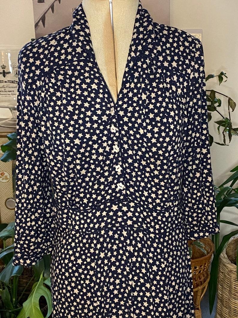Vintage Kath Kidston Navy and Beige Jersey Star Dress