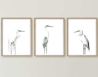 Great White Heron, Cocoi Heron, Home Decor, Minimalist Pencil Art, Egret Drawing, Black White Egret Print, Minimalist Animal Art
